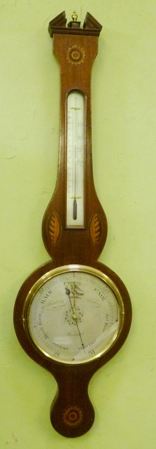 J. HALABERGO, BANBURY AN EARLY 19TH CENTURY MAHOGANY BANJO BAROMETER having shell inlaid case, architectural pediment, spirit thermometer and silvered dials with mercurial action, 98cm high