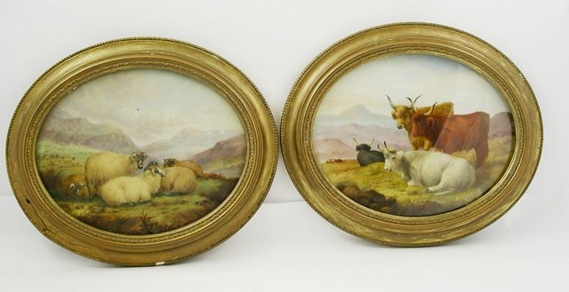 DAVIS A pair of oval pictures on opal glass, sheep and long horn cattle, Watercolour on glass, one signed, 19cm x 24cm, in gilt frames