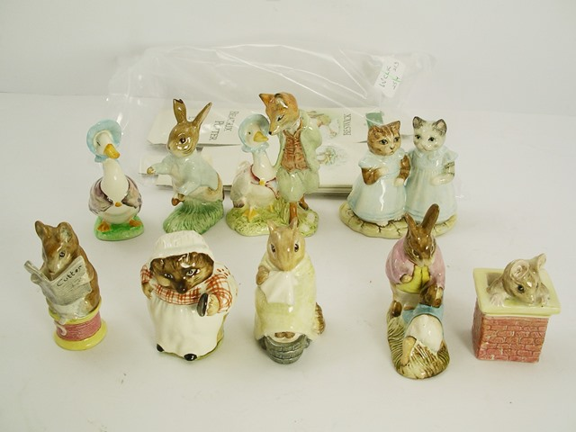 NINE  BESWICK BEATRIX POTTER EARTHENWARE FIGURES, four BP3b backstamp, Mrs Tiggywinkle B, Chippy Hackee, Tailor of Gloucester, Mr Benjamins Bunny and Peter Rabbit, three Royal Albert Mittens and Moppet Jemima, Tom Thumb and one other Peter Rabbit, and three other unassigned boxes, last rabbit broken
