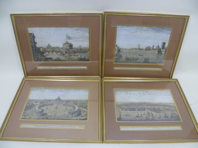 AFTER ZOCCHI A set of four views, Florence from the Arno, St Peter at Rome, Castle St Angelo, and a view of Venice, Prints, 25cm x 40cm, in modern gilt glazed frames