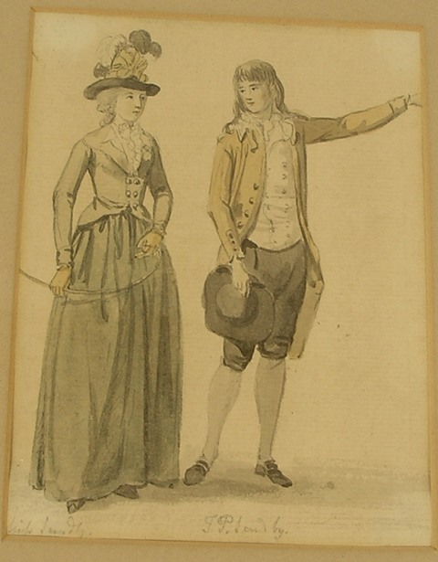 PAUL SANDBY RA An 18th century study of his 2nd son, Thomas Paul, and Mrs Sandby, in period dress, 14.5cm x 11cm, Pencil and Watercolour, titled, in plain double mount and slender gilt frame