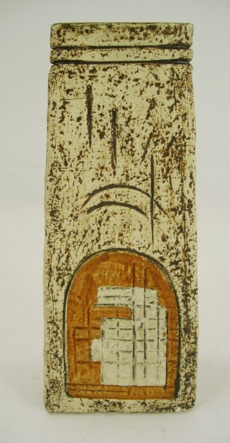 A 1970S TROIKA EARTHENWARE COFFIN VASE decorated with arch and door