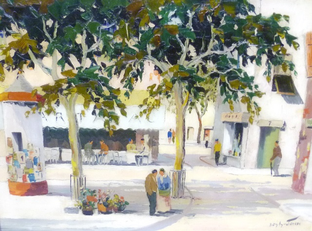 CHARLES ROBERT DOYLY-JOHN A Continental village square scene with trees in full leaf and figures conversing before a Bar-Tabac, Oil on canvas, signed, 41 x 57cm in gilt and cream painted moulded frame
