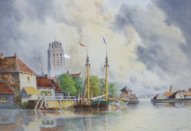 LOUIS VAN STAATEN Dortrect, a canal/estuary view with figures in moored sailing barges, quayside buildings and background church, Watercolour, signed, 40cm x 60cm in gilt gesso glazed frame