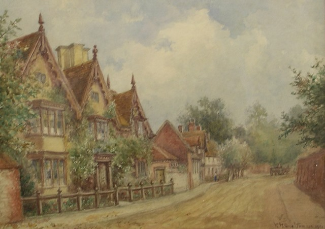 WILLIAM WELLS QUATREMAIN Halls Croft, a view of Old Town, with figures on the pathway and horse and carriage in the distance,  Watercolour, signed and dated, 1921, 30cm x 38cm in gilt glazed frame
