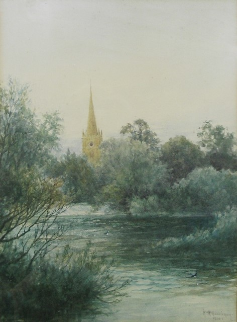 WILLIAM WELLS QUATREMAIN Holy Trinity, Stratford upon Avon, looking towards the church over the weir on the River Avon, Watercolour, signed and dated 1920, 28cm x 38cm in white glazed frame