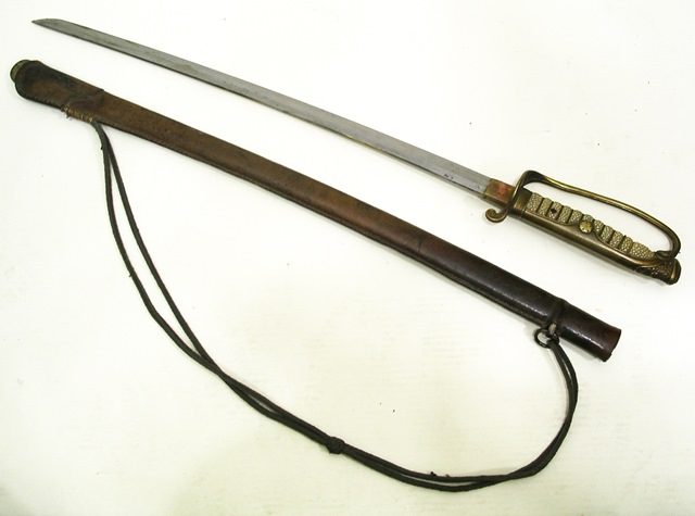 A WORLD WAR II PERIOD JAPANESE OFFICERS KATANA having shagreen wire handle and leather scabbard, 95cm overall in scabbard