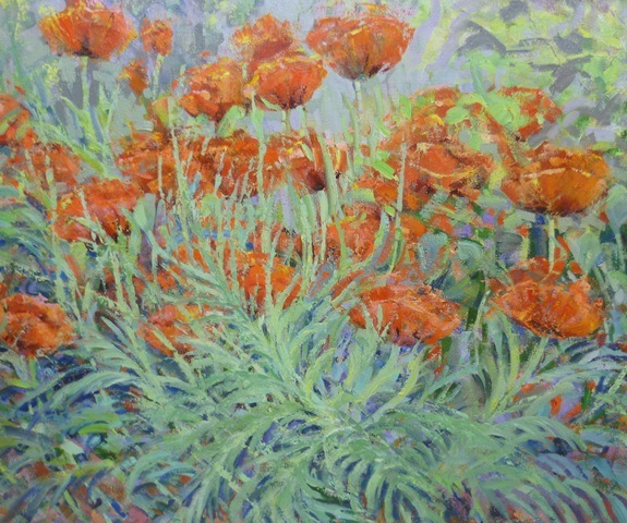 JEFFREY PRATT  A study of poppies, an Oil on Canvas, 61cm x 92cm in moulded frame