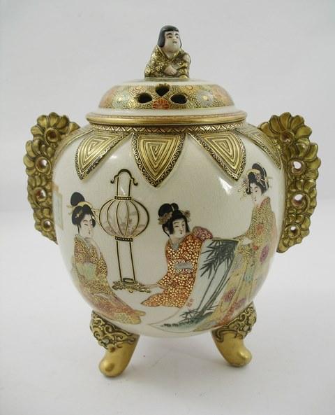 TAKEUCHI A LATE MEIJI PORCELAIN KORO having all over satsuma colouring with figures, geisha, etc, 27cm high