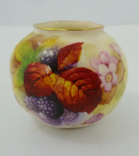 KITTY BLAKE A ROYAL WORCESTER GLOBULAR VASE, painted with raspberries and foliage, ref. G161, date code 1952