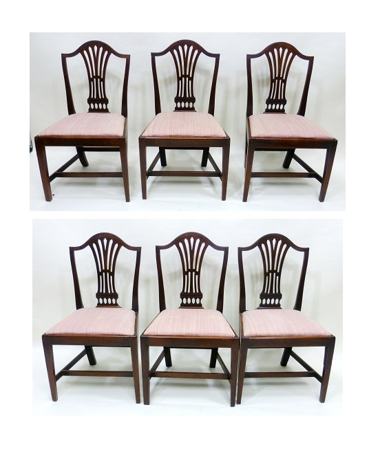A SET OF SIX PRINCIPALLY EARLY 19TH CENTURY HEPPLEWHITE STYLE DINING CHAIRS each having a hump crest rail, fanned splat, drop-in seat, raised on squared forelegs united by an H frame stretcher, all standards