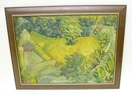 FOLLOWER OF IRMA STERN  Study of a tropical garden with flowing river, a bridge and a boat, mid 20th century Oil on canvas, unsigned, 40 x 56cm in modern moulded wood frame.
