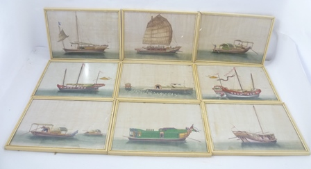A SUITE OF NINE EARLY 19TH CENTURY CHINESE RICE PAPER PAINTINGS principally portraying junks and other vessels, in 1960s white glazed frames, 192mm x 273mm inside frame, 210mm x 292mm including frame