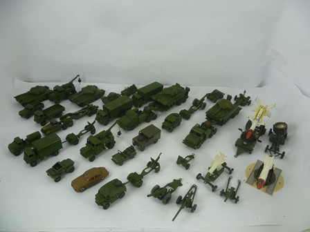 A FLEET OF 31 DINKY TOYS & CORGI SUPER MAJOR DIE-CAST ARMY VEHICLES including; Tank Transporters, Tanks, Rocket Launches, Scout cars, lorries, armoured vehicle Recovery Truck, Jaguar 3.4 litre no.195 etc.