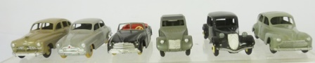 DINKY TOYS FABRIQUE EN FRANCE SIX DIE-CAST VEHICLES to include Ford Vedette, Simca 9 Avonde (24u), Simca 8 Sport, Citroen 2CV, Citroen 11BL (24N), and Peugeot 203 (6)