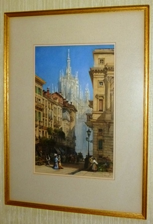 WILLIAM WYLD A 19th century study of a believed Italian street scene, Watercolour over pencil heightened with body colour, 35cm x 22cm double mounted in slender gilt frame