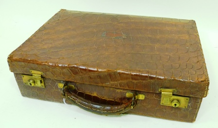 MAPPIN & WEBB A CROCODILE ATTACHE CASE with fitted interior, 40cm x 30cm x 12cm
