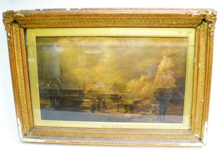 WILLIAM COLLINS A Coastal View with beached sailing vessels, 5 people on the sands and high chalk cliffs, Oil on canvas, signed, 54 x 84cm in gilt gesso glazed frame