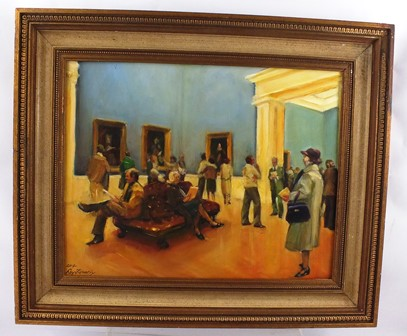 ROY TIDMARSH Reynolds Exhibition Royal Academy, London 2014, a scene with figures seated on a leather bench and others contemplating, Oil on board, signed, 36 x 46cm, in gold moulded frame