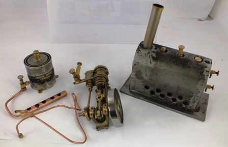 A STUART TURNER STATIONARY STEAM ENGINE No. 218 with pulley drive and piston