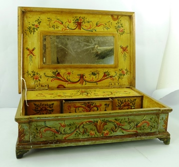A 20TH CENTURY CONTINENTAL HAND PAINTED LADYS TABLE TOP JEWELLERY/WRITING BOX the lift up lid revealing a mirror, three in-line drawers and fall down front. The whole profusely decorated with urns, swags and flowers and raised on bracket feet. 14cmx 51cm