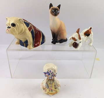 A SELECTION OF THREE ROYAL DOULTON MODELS, an earthenware Bulldog, reg. no. 645558, a bone china Jack Russell puppy and ball, Doulton Siamese Cat, HN2655, a Beswick Beatrix Potters Lady Mouse