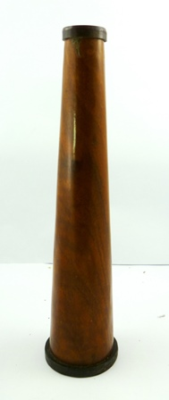 A 19TH CENTURY MAHOGANY SLEEVED KALEIDOSCOPE of tapered conical form and hexagonal visible interior, 37cm high