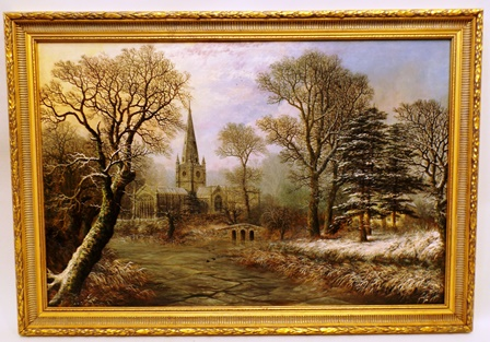 CHARLES LEAVER Holy Trinity Church, Stratford-upon-Avon, from the River Avon, a frosty winter scene with light dusting of snow, a glimpse of Avonbank through mature trees, (the former home of Charles and Sarah Flower - now demolished), Oil on canvas, signed and dated 1873, 59cm x 90cm in modern gilt frame with remnants of labels verso