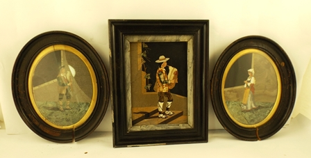 A SUITE OF THREE PROBABLY ITALIAN LATE 19TH CENTURY PIETRA DURA WALL HANGINGS, an oval of boy in lederhosen, 22 x 17cm, companion of a girl in National costume and another rectangular, a boy on steps, 24 x 17cm, each in 1920s dark finished glazed frames