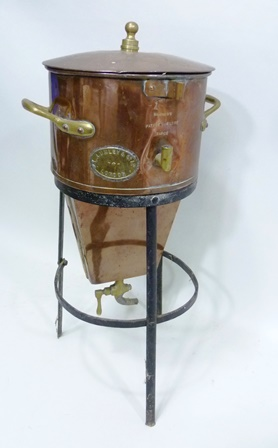 A VICTORIAN COPPER MAIGNENS PATENT RAPIDE FILTRE bears makers brass label L Lumley & Co Ltd, London on wrought metal stand, overall 60cm high, together with TWO 19TH CENTURY COPPER FUNNELS
