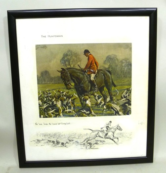 AFTER SNAFFLES  The Huntsman - The oss loves the ound but I loves both, Colour Print, with remarque, signed Snaffles, 20.5cm x 26.5cm in glazed frame